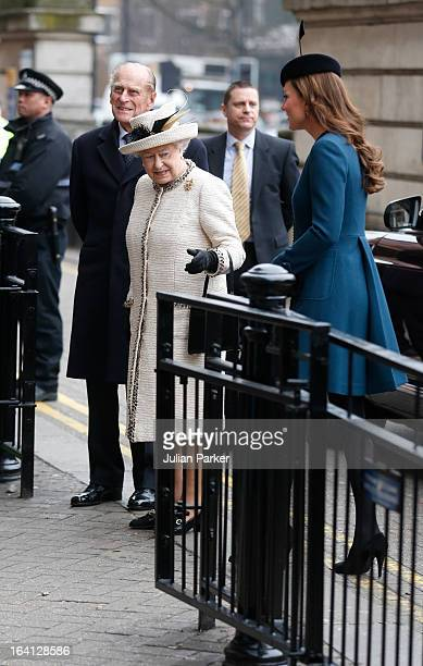 Queen Elizabeth II and The Duke of Edinburgh and Catherine Duchess of Cambridge make an official visit to Baker Street Underground Station on March...