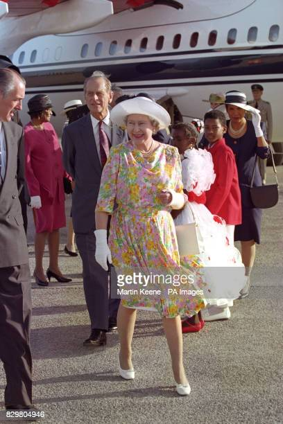 Queen Elizabeth II and the Duke of Edinburgh arrive on Anguilla in the Caribbean