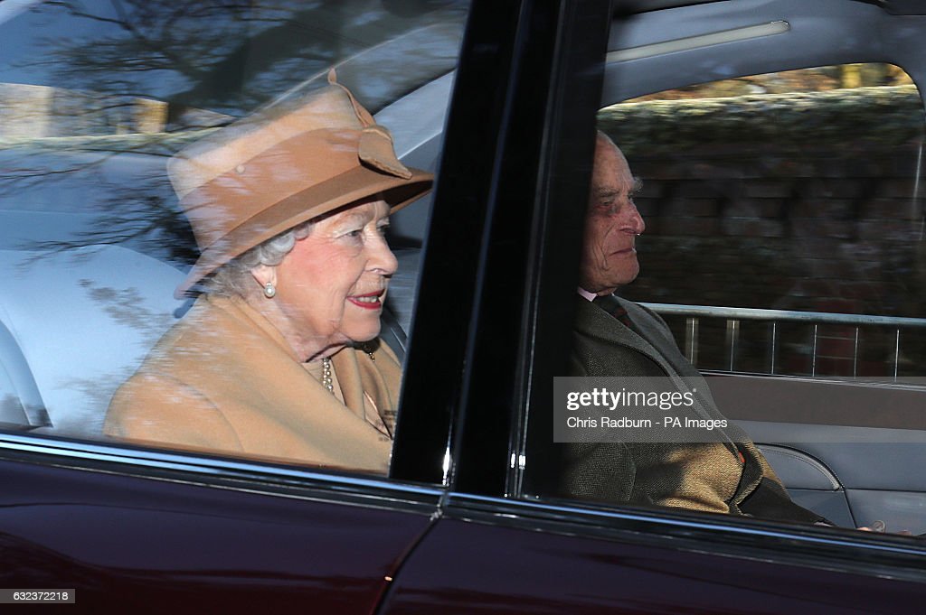 Queen Elizabeth II and the Duke of Edinburgh arriving to attend the morning church service at St Mary Magdalene Church in Sandringham, Norfolk.