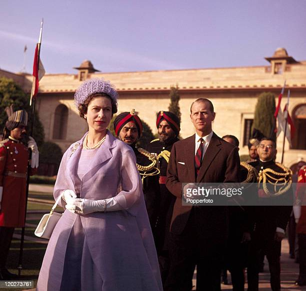 Queen Elizabeth II and the Duke of Edinburgh at a civic ceremony in New Delhi during the Royal Tour of India circa January 1961