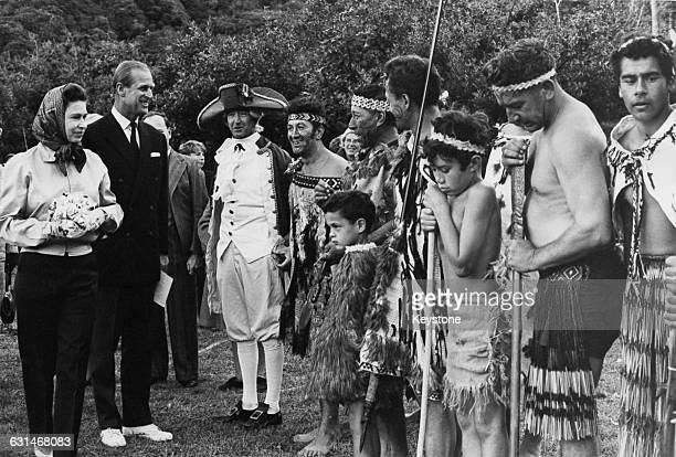 Queen Elizabeth II and the Duke of Edinburgh at Ship Cove during the royal tour of New Zealand 18th March 1970 The royal family are there in...