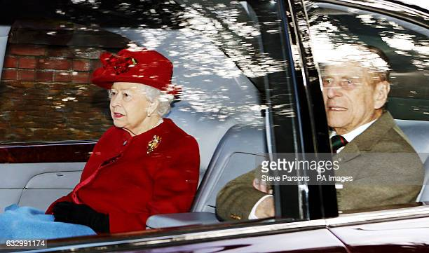 Queen Elizabeth II and the Duke of Edinburgh leave after attending the morning church service at St Mary Magdalene Church in Sandringham Norfolk
