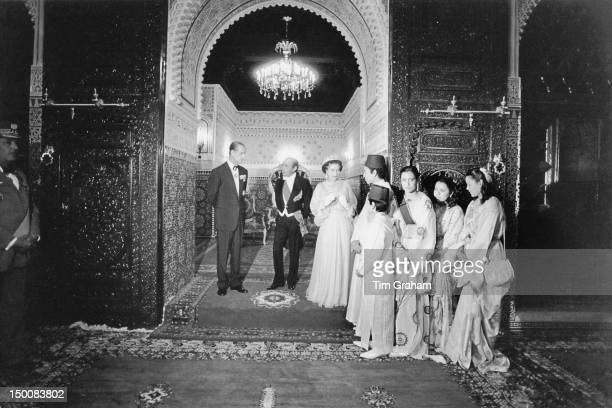 Queen Elizabeth II and the Duke of Edinburgh meet the family of King Hassan II at the royal palace in Rabat during a State Visit to Morocco 28th...