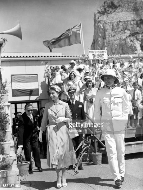 Queen Elizabeth II and the Duke of Edinburgh on a visit to Gibraltar this was their last port of call of this Royal Tour 12th May 1954