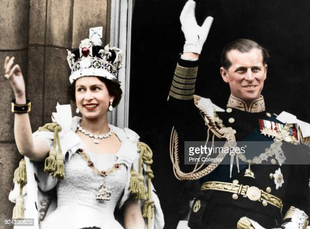 Queen Elizabeth II and the Duke of Edinburgh on the day of their coronation, Buckingham Palace, 1953. . Artist Unknown.