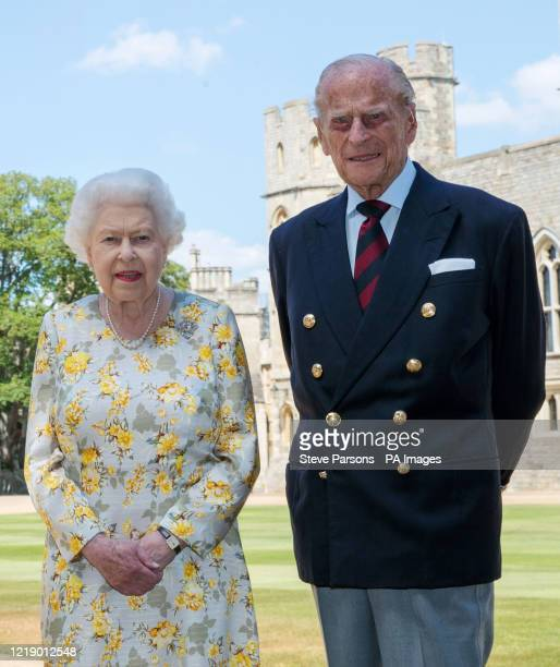Queen Elizabeth II and the Duke of Edinburgh pictured 1/6/2020 in the quadrangle of Windsor Castle ahead of his 99th birthday on Wednesday