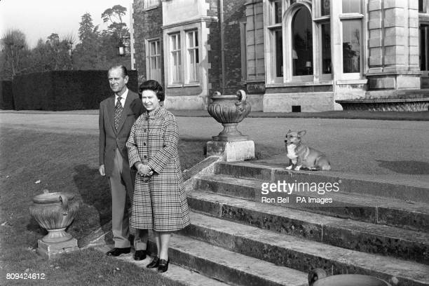 Queen Elizabeth II and the Duke of Edinburgh posing in the grounds of Sandringham House, Norfolk, to mark the 30th anniversary of the Queen's...