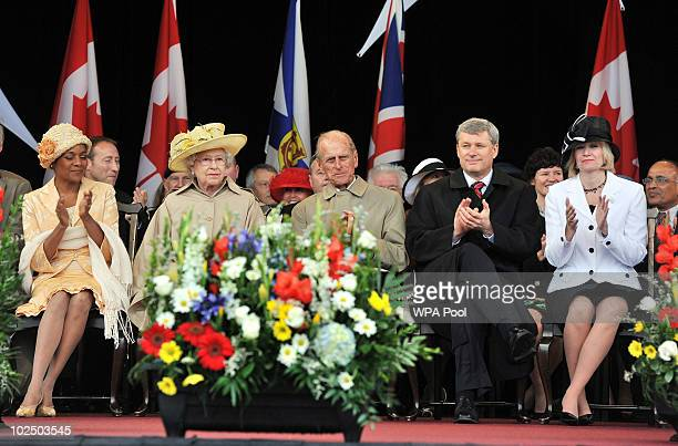 Queen Elizabeth II and the Duke of Edinburgh sit with Canadian Prime Minister Stephen Harper his wife Laureen Harper and Governor General Michaelle...