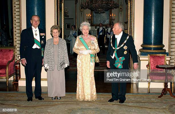 Queen Elizabeth II and The Duke of Edinburgh welcome Carlo Ciampi, President of the Italian Republic and his wife Signora Ciampi, at a State Banquet...