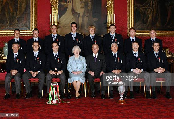 Queen Elizabeth II and the Duke of Edinburgh with England's 2005 Ashes winning cricket team Back from left Geraint Jones Andrew Strauss Simon Jones...