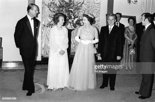 Queen Elizabeth II and the Duke of Edinburgh with President Nicolae Ceausescu of Romania and his wife Madame Elena Ceausescu at Claridges in London...