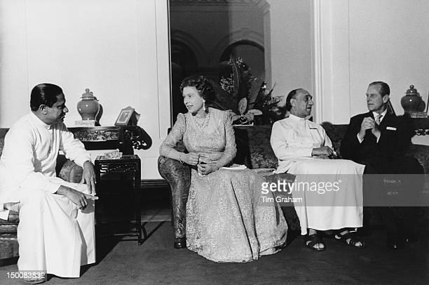 Queen Elizabeth II and the Duke of Edinburgh with Sri Lankan President Junius Richard Jayewardene in Colombo during a State Visit to Sri Lanka 22nd...