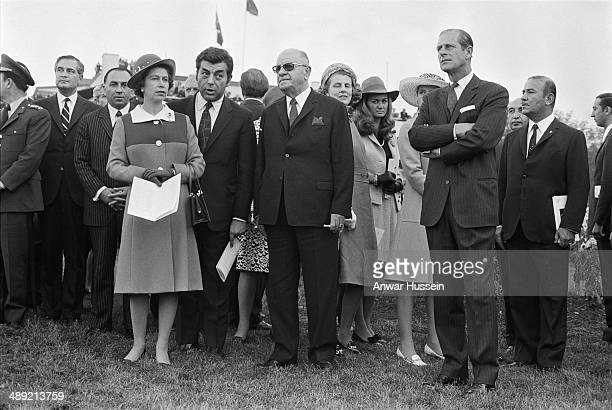 Queen Elizabeth II and the Duke of Edinburgh with Turkish President Cevdet Sunay at an equestrian event during a State Visit to Turkey October 1971