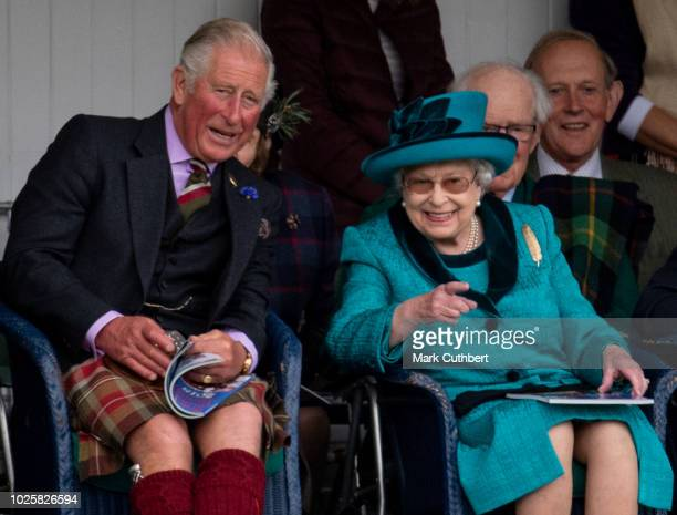 Queen Elizabeth II and The Duke of Rothesay attend the 2018 Braemar Highland Gathering at The Princess Royal and Duke of Fife Memorial Park on...