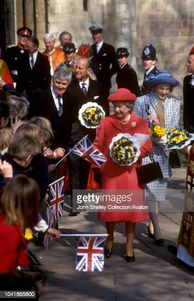 Queen Elizabeth II and the Duke of Westnminster at the Maundy Service at Norwich Cathedral 4th April 1996