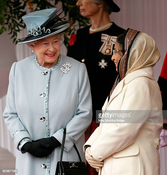 HM Queen Elizabeth II and The President of the Republic of India Pratibha Devisingh Patil attend the Ceremonial Welcome on the Royal Dias during the...