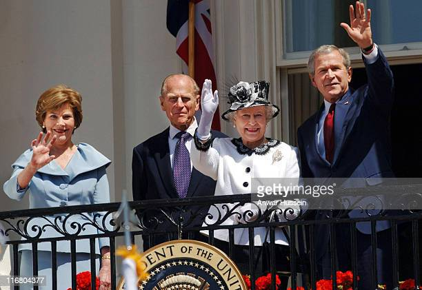 Queen Elizabeth II and the President of the United States of America George W Bush are accompanied by their spouses Prince Philip Duke of Edinburgh...