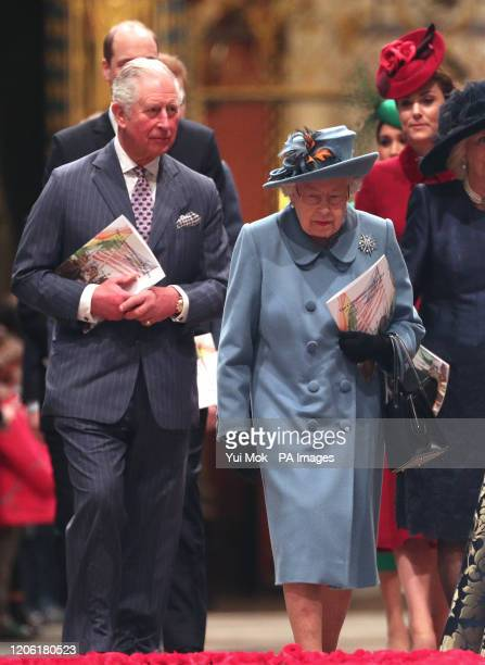 Queen Elizabeth II and the Prince of Wales leaving after the Commonwealth Service at Westminster Abbey, London on Commonwealth Day. The service is...