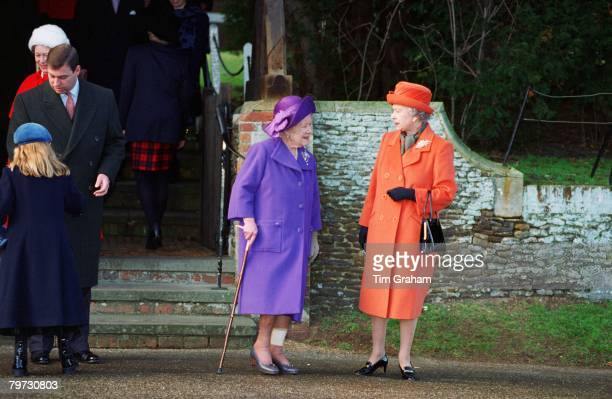 Queen Elizabeth II and the Queen Mother at Sandringham Church on Christmas Day Prince Andrew Duke of York is with his daughter Princess Beatrice on...