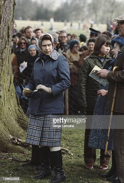 Queen Elizabeth II and the Queen Mother at the Badminton Horse Trials, UK, 1978.