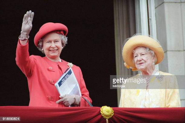 Queen Elizabeth II and the Queen Mother on the balcony of Buckingham Palace, to celebrate the 50th anniversary of VE Day, 8th May 1995.