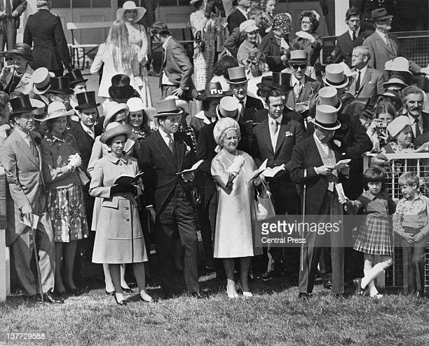 Queen Elizabeth II and the Queen Mother with members of the royal family at the Derby Epsom Downs Racecourse Surrey 6th June 1973
