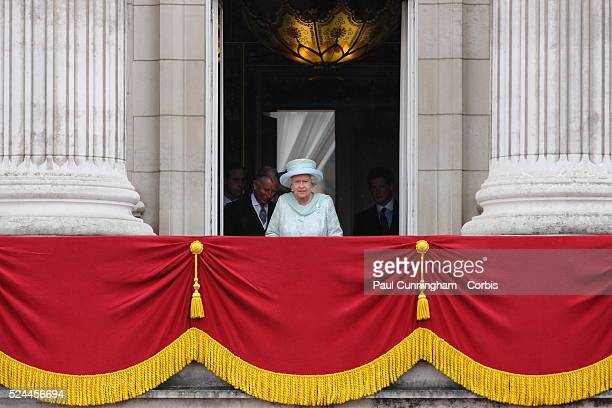 Queen Elizabeth II and the Royal family appear on the balcony of Buckingham Palace to commemorate the 60th anniversary of the accession of the Queen,...