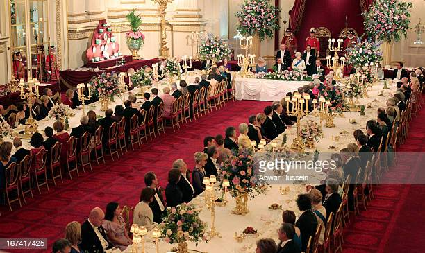Queen Elizabeth II and US President Barack Obama attend a State Banquet at Buckingham Palace on May 24 2011 in London England *
