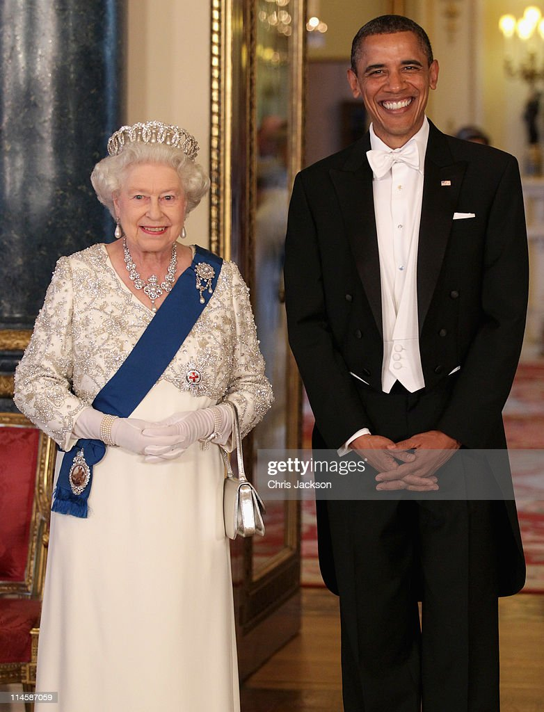 Queen Elizabeth II and U.S. President Barack Obama (R) pose in the Music Room of Buckingham Palace ahead of a State Banquet on May 24, 2011 in London, England. The 44th President of the United States, Barack Obama, and his wife Michelle are in the UK for a two day State Visit at the invitation of HM Queen Elizabeth II. During the trip they will attend a state banquet at Buckingham Palace and the President will address both houses of parliament at Westminster Hall.