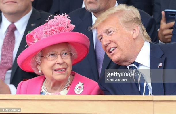 Queen Elizabeth II and US President Donald Trump attend the Dday 75 Commemorations on June 05 2019 in Portsmouth England The political heads of 16...
