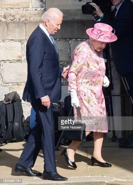 Queen Elizabeth II and US President Joe Biden at Windsor Castle on June 13, 2021 in Windsor, England. Queen Elizabeth II hosts US President, Joe...