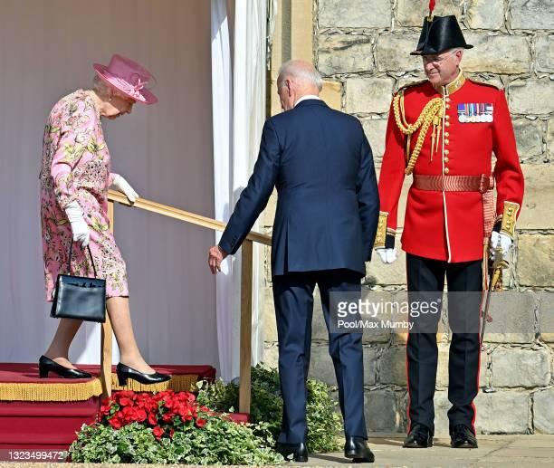 Queen Elizabeth II and U.S. President Joe Biden attend the president's ceremonial welcome at Windsor Castle on June 13, 2021 in Windsor, England....