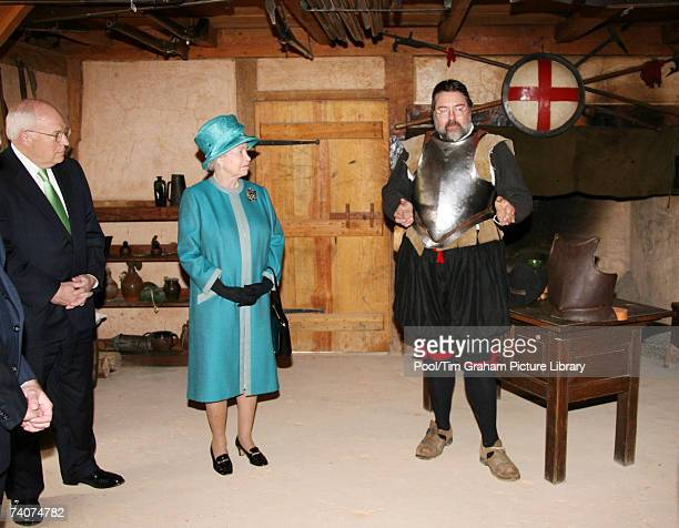 Queen Elizabeth II and US Vice President Dick Cheney are shown armor while touring Jamestown Settlement May 4 2007 in Richmond Virginia This is the...
