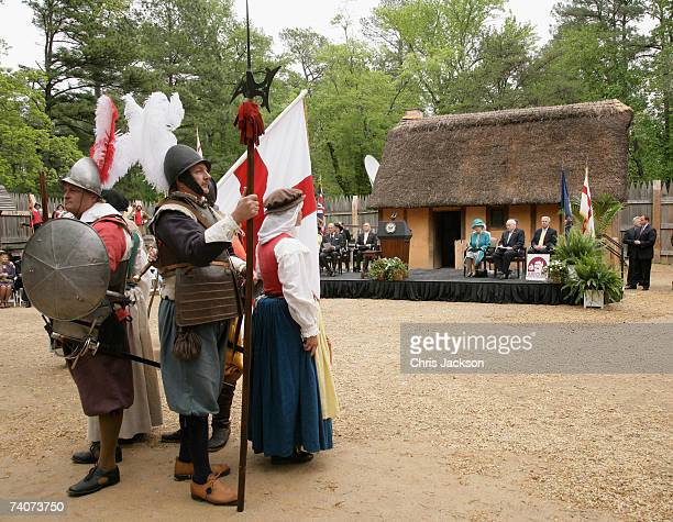 Queen Elizabeth II and Vice President Dick Cheney watch a performance as they tour Jamestown Settlement on May 4 2007 in Williamsburg Virginia This...