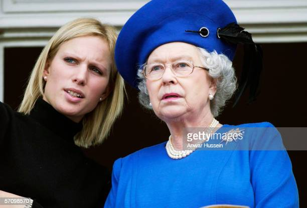 Queen Elizabeth II and Zara Phillips at the Cheltenham Gold Cup on March 3 in Chltenham England