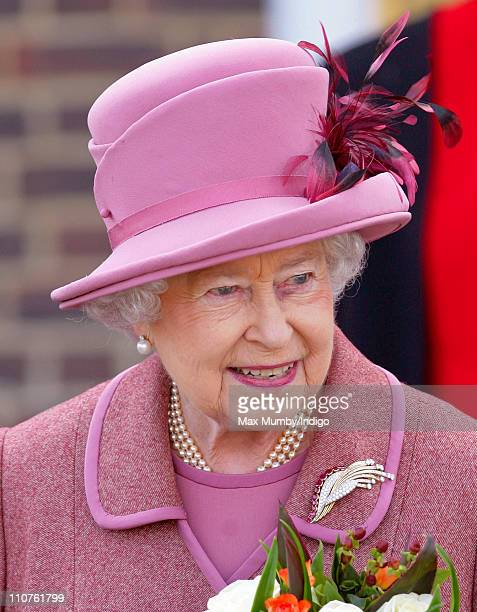 Queen Elizabeth II appears to have a bruise around her left eye as she visits The Royal Foundation of St Katharine charitable conference retreat...