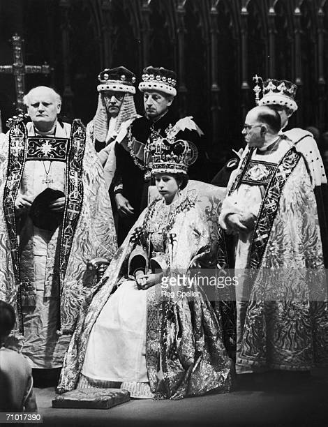 Queen Elizabeth II Archbishop of Canterbury Dr Geoffrey Fisher and dignitaries at the Coronation Westminster Abbey 2nd June 1953