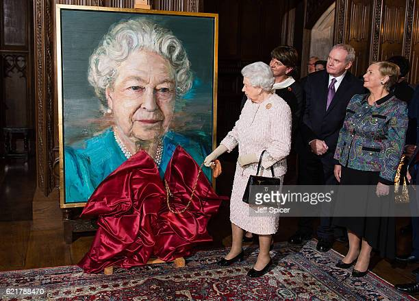 Queen Elizabeth II Arlene Foster First Minister of Northern Ireland Martin McGuinness Deputy First Minister of Northern Ireland and Frances...