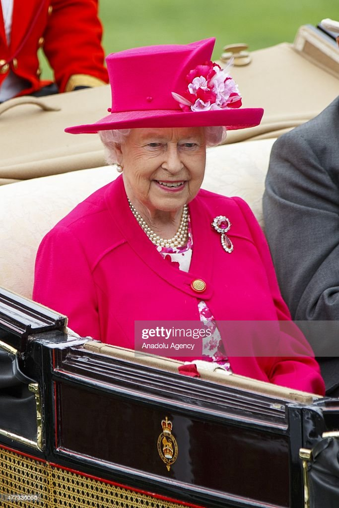 Queen Elizabeth II arrive in a carriage for day one of Royal Ascot horse racing at Ascot racecourse in Berkshire, on June 16, 2015. The 5 day showcase event, which is one of the highlights of the racing calendar, has been held at the famous Berkshire course since 1711 and tradition is a hallmark of the meeting. Top hats and tails remain compulsory in parts of the course.