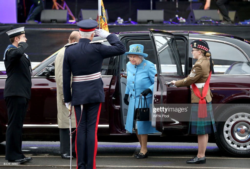 Queen Elizabeth II arrives along the Queensferry Crossing during the official opening of the new bridge across the Firth of Forth on September 4, 2017 in South Queensferry, Scotland. Scotland's newest road bridge which began construction in 2011, crosses the Firth of Forth near Edinburgh. The crossing is the world's longest three tower cable stayed bridge.