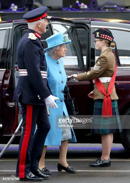 Queen Elizabeth II arrives along the Queensferry Crossing during the official opening of the new bridge across the Firth of Forth on September 4 2017...