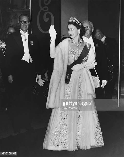 Queen Elizabeth II arrives at a State reception at City Hall in Hobart Tasmania during a visit to Australia 20th February 1954