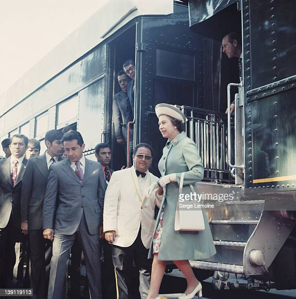 Queen Elizabeth II arrives at a station during her state visit to Mexico 1975