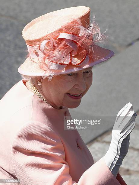 Queen Elizabeth II arrives at Canongate Kirk on the afternoon of her wedding to Mike Tindall on July 30, 2011 in Edinburgh, Scotland. The Queen's...