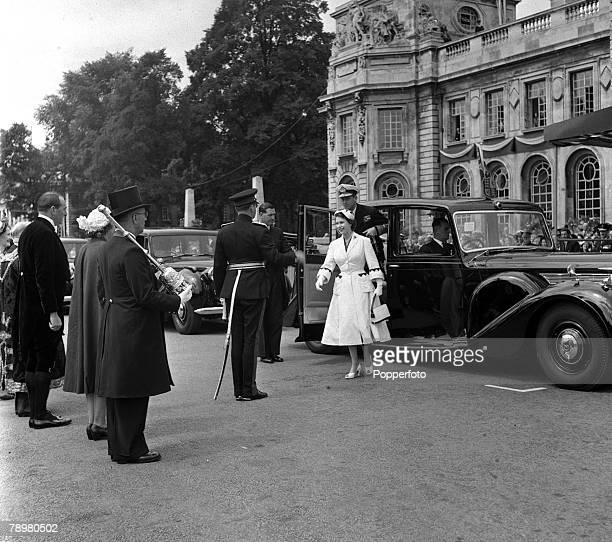 1953 Queen Elizabeth II arrives at Cardiff Civic Centre during her Coronation visit to Wales