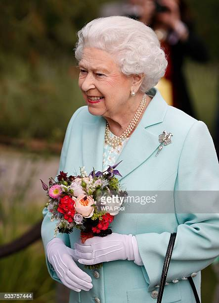 Queen Elizabeth II arrives at Chelsea Flower Show press day at Royal Hospital Chelsea on May 23 2016 in London England The show which has run...