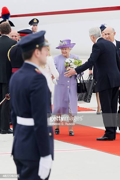 Queen Elizabeth II arrives at Ciampino Airport on April 3 2014 in Ciampino Italy The Queen and the Duke of Edinburgh are on a one day visit to Italy...
