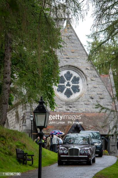 Queen Elizabeth II arrives at Crathie Kirk for the Sunday church service with Sophie, Countess of Wessex and the Earl of Wessex near Balmoral, where...