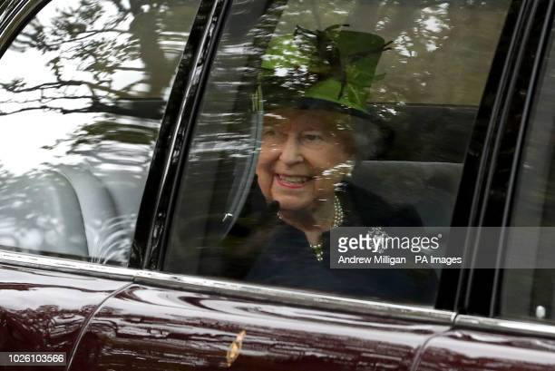 Queen Elizabeth II arrives at Crathie Kirk in Scotland for a Sunday morning church service