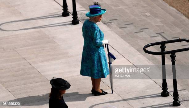 Queen Elizabeth II arrives at her Garden Party at Buckingham Palace on May 31 2018 in London England